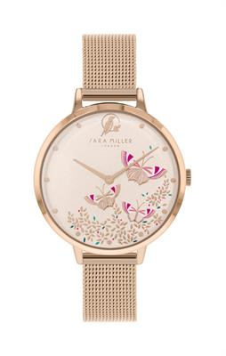 Buy Sara Miller Butterfly Mesh Watch, Rose Gold