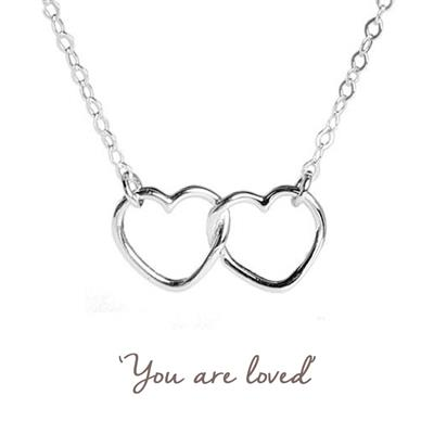 Buy Linked Hearts Mantra Necklace in Silver