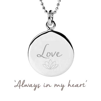 Buy Mantra Love Disc Necklace in Sterling Silver