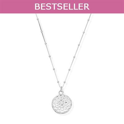 Buy ChloBo Cherabella Moon Flower Silver Necklace