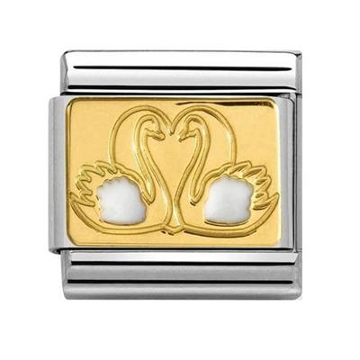 Buy Nomination White and Gold Swans Charm