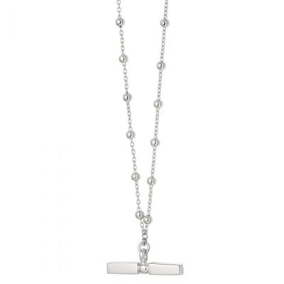 Buy Daisy Stacked Silver T Bar Necklace