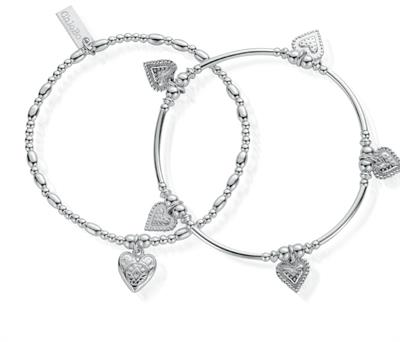 Buy ChloBo Cherabella Embrace Set of 2 Silver Bracelets