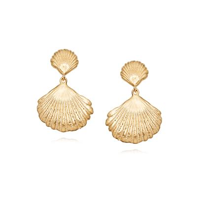 Buy Daisy Gold Double Shell Earrings