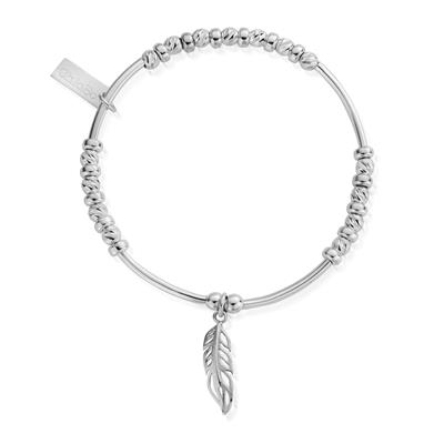 Buy ChloBo Silver Sparkle Feather Bracelet