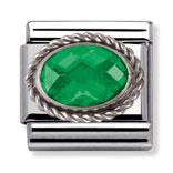 Buy Nomination Emerald Faceted CZ with Silver Frill