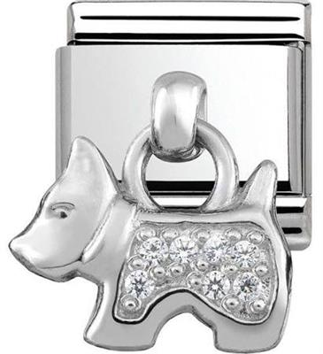 Buy Nomination Silver Hanging Dog Charm with CZ Embellishment