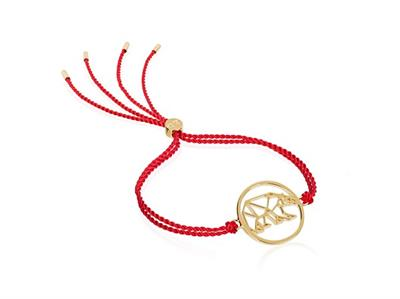 Buy Daisy x Ellie Goulding Red Cord Polar Bear Bracelet in Gold