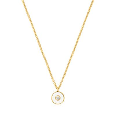 Buy Ania Haie Bright Future Optic White Enamel & Gold Disc Necklace