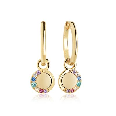 Buy Sif Jakobs Gold Portofino Lungo Earrings with Multicoloured CZ