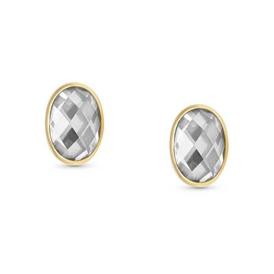 Buy Nomination Gold Oval Clear CZ Studs