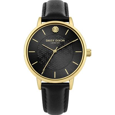 Buy Daisy Dixon Lucy Yellow Gold Black Leather Watch