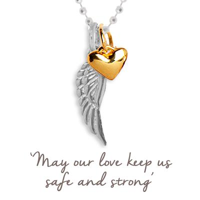 Buy Mantra Angel Wing and Heart Necklace in Silver and Gold