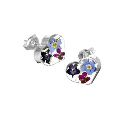 Buy Flower Jewellery Purple Haze Heart Studs
