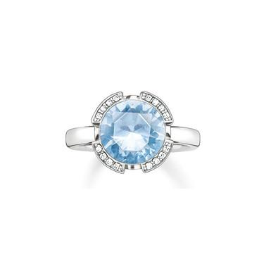 Buy Thomas Sabo Solitaire Silver & Light Blue Signature Line Ring, Size 54