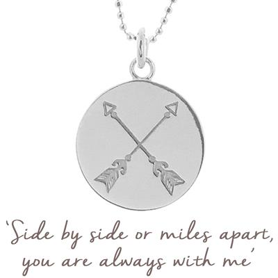 Buy Mantra Friendship Arrow Necklace in Silver