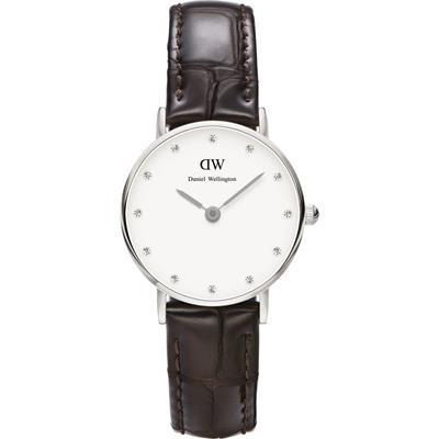 Buy Daniel Wellington Classy York Brown Leather Watch in Silver