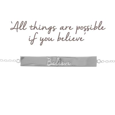 Buy Mantra Believe Bar Bracelet in Silver