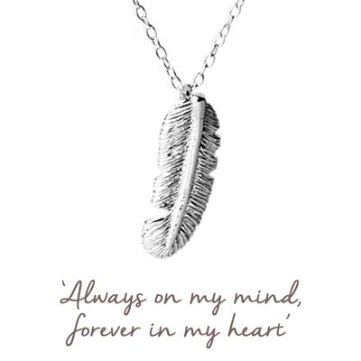 Buy Mantra Love Feather Necklace in Silver