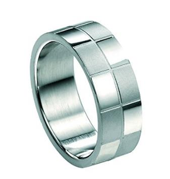 Buy Fred Bennett Stainless Steel Checked Ring Size 62