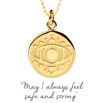 Buy Mantra Evil Eye Disc Necklace in Gold
