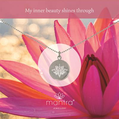 Buy Mantra Lotus Inner Beauty Necklace in Silver