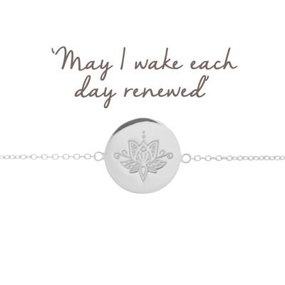 Buy Mantra Renewal Lotus Disc Bracelet in Silver