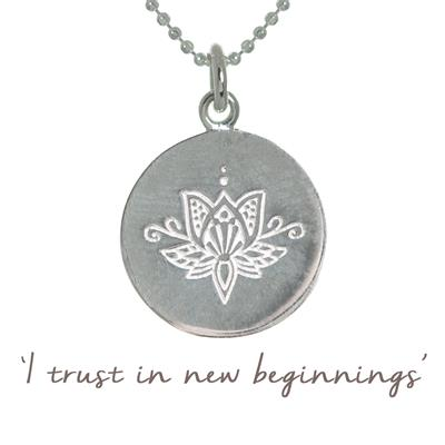 Buy Mantra Lotus New Beginnings Necklace in Silver