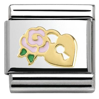 Buy Nomination Gold Padlock Pink Rose