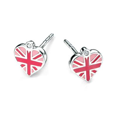 Buy DforDiamond Union Jack Heart Children's Studs