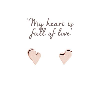 Buy Heart Mantra Studs in Rose Gold