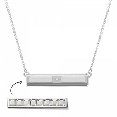 Buy Take What You Need Silver Toned Bar Necklace