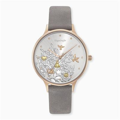 Buy Engelsrufer Rose Gold Tree of Life Watch with Grey Leather Strap