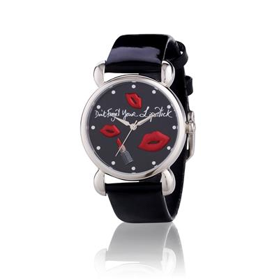 Buy Lulu Guinness Black Leather with Red Lips Mischief Collection