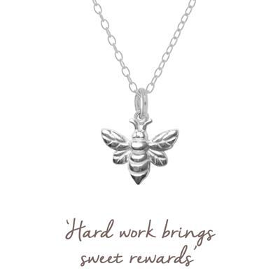 Buy Mantra Bee Necklace in Silver