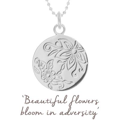 Buy Mantra Bloom Flower Disc Necklace in Sterling Silver