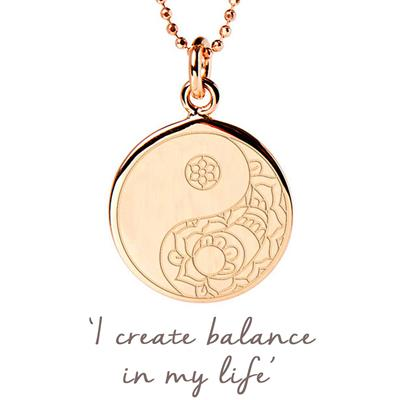 Buy Mantra Balance Yin Yang Disc Necklace in Rose Gold