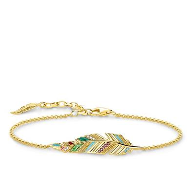 Buy Thomas Sabo Gold Multi-CZ Feather Bracelet