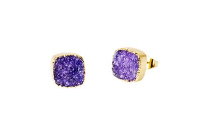 Buy Druzy Purple Agate Square Studs