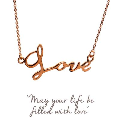 Buy Mantra Love Script Necklace in Rose Gold