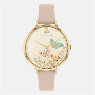 Buy Sara Miller Pink Leather Watch, Gold with Butterflies