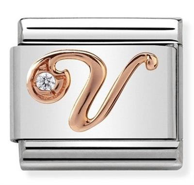 Buy Nomination Rose Gold CZ Letter V
