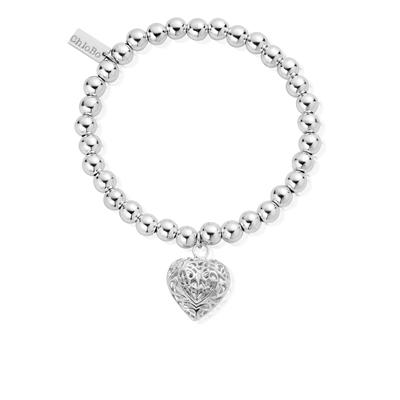 Buy ChloBo Small Ball Filigree Heart Bracelet
