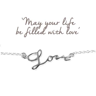 Buy Mantra Love Script Bracelet in Silver