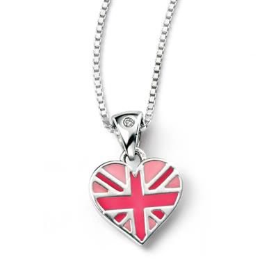 Buy DforDiamond Pink Union Jack Children's Heart Necklace
