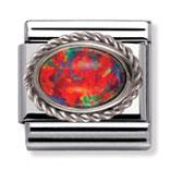 Buy Nomination Red Opal and Silver Frill Oval Stone