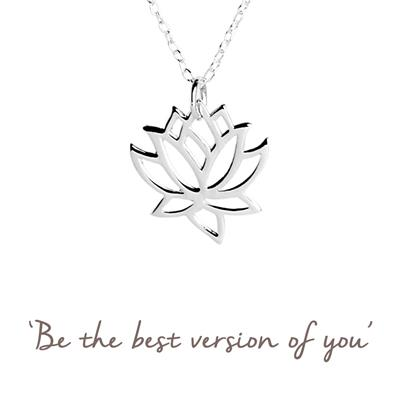 Buy Lotus Flower Mantra Necklace in Silver