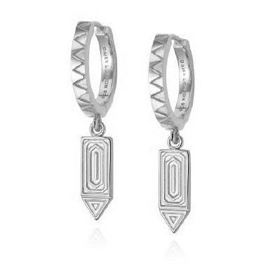 Buy Daisy Artisan Long Drop Huggie Earrings, Sterling Silver