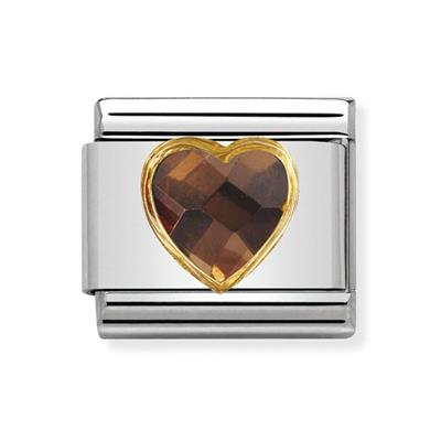 Buy Nomination Faceted Smokey CZ Heart Charm