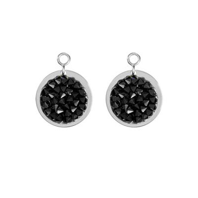 Buy Nikki Lissoni Black Rock Crystal Silver Coin Drops